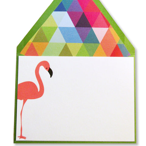 Letterpress flamingo stationery, summery note cards, with colorful lined envelopes by inviting in austin texas.