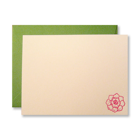 Retro flower letterpress stationery in fuchsia, INV1023 by inviting.
