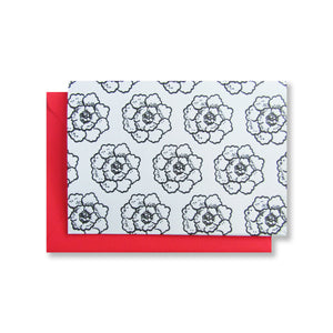 Letterpress floral folded note cards in black ink with flamingo pink envelopes by inviting in Austin TX INV1175