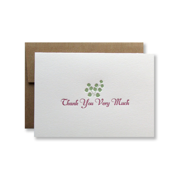 Letterpress eucalyptus thank you cards in moss green by inviting INV1065