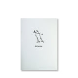 Letterpress gemini constellation note card, zodiac constellation in black ink by inviting letterpress in austin texas.