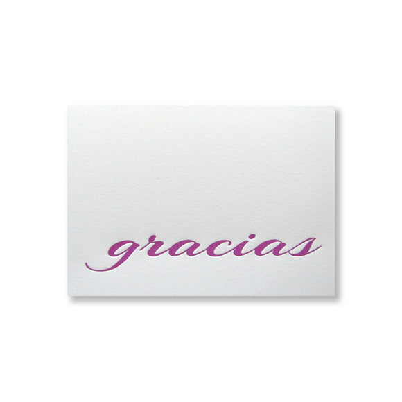 Gracias letterpress thank you stationery by inviting in purple ink with purple shimmer envelopes. Prints and ships from Austin, Texas.