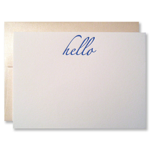 Letterpress hello stationery, blue with shimmer envelopes, INV0348 by inviting.