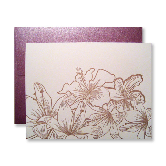 Copper hibiscus note cards, letterpress printed by inviting | shopinviting.