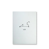 Letterpress leo constellation note card, zodiac constellation in black ink by inviting letterpress in austin texas.