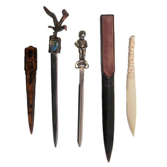 Vintage letter openers and paper knives, stationery accessories. Hand-carved wooden paper knives.