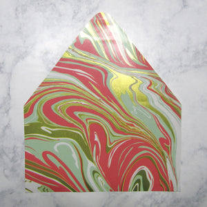 Aqua & Salmon Marble Envelopes Liners