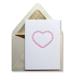 Letterpress heart card, in fuchsia ink, by inviting in Austin TX