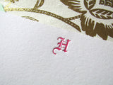 Gothic initial in fuchsia ink, letterpress stationery with hand lined envelopes, by inviting letterpress in austin texas