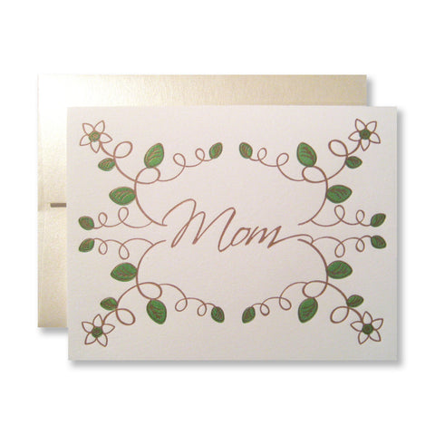 Leafy greenery mother's day cards, designed and letterpress printed, by inviting.