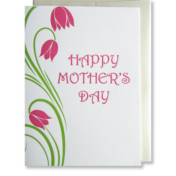 Letterpress mothers day card with dark pink flowers and stylized lime green stems, by inviting in Austin Texas