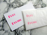Letterpress gift tag enclosure cards in neon pink, This is for you, A gift for you, Happy Day, You're the Best, and You Rock, assorted packs, by inviting in Austin, Texas.