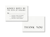 Etched stone inspired wedding reply card and thank you card, designed & letterpress printed by inviting | shopinviting in Austin, Texas.
