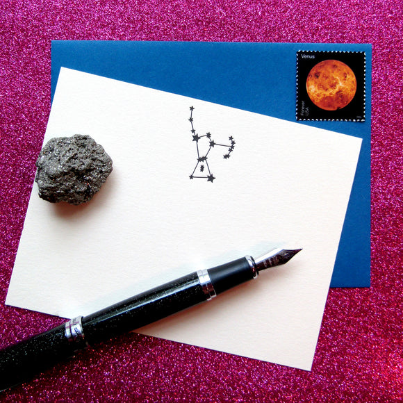Letterpress constellation Orion stationery, in black ink, by inviting INV1117.