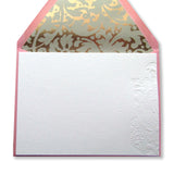 Letterpress paisley lace flat stationery with lined pink envelopes, by inviting in Austin, Texas.