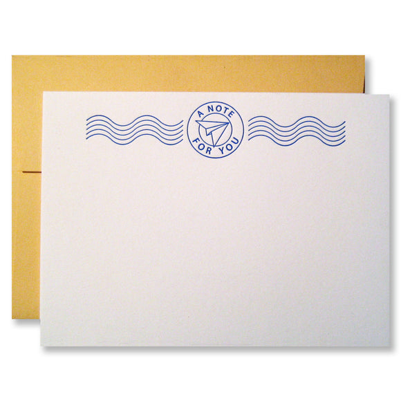Letterpress stationery with paper airplane, postage cancellation stamp, in blue ink INV0692.