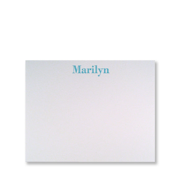 Personalized letterpress serif stationery, small flat card in aqua ink by inviting in Austin, Texas.