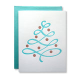 Modern letterpress holiday card, aqua blue christmas tree with copper ornaments, by inviting in austin texas.