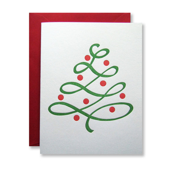 Red and green letterpress holiday tree card by inviting in austin texas.