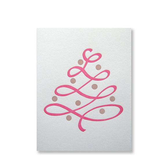 Holiday Tree Card {pink & copper}