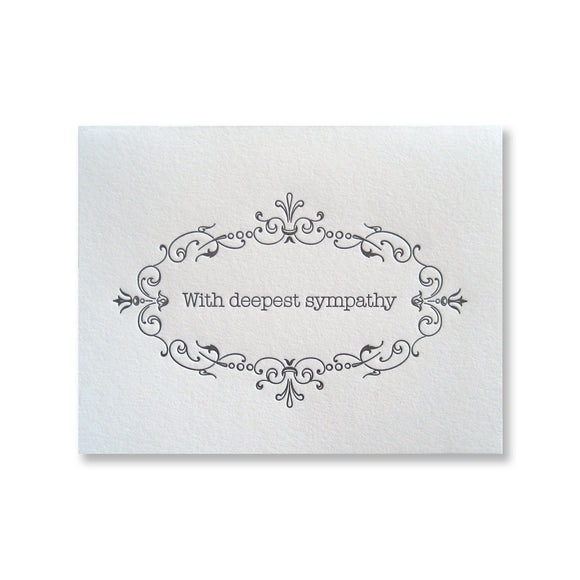 Letterpress sympathy card with delicate framed border INV1063 by inviting.