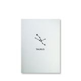 Letterpress taurus constellation note card, zodiac constellation in black ink by inviting letterpress in austin texas.