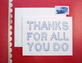 Say thanks this Administrative Professionals / Staff Appreciation day with a letterpress printed card designed & printed by inviting | shopinviting in Austin Texas.