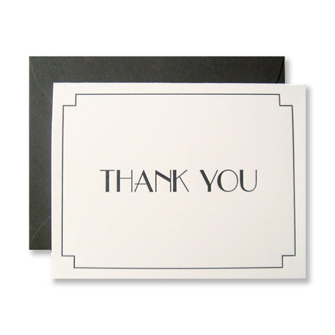 Art deco thank you cards, letterpress printed by inviting | shopinviting in dark gray ink. INV0223