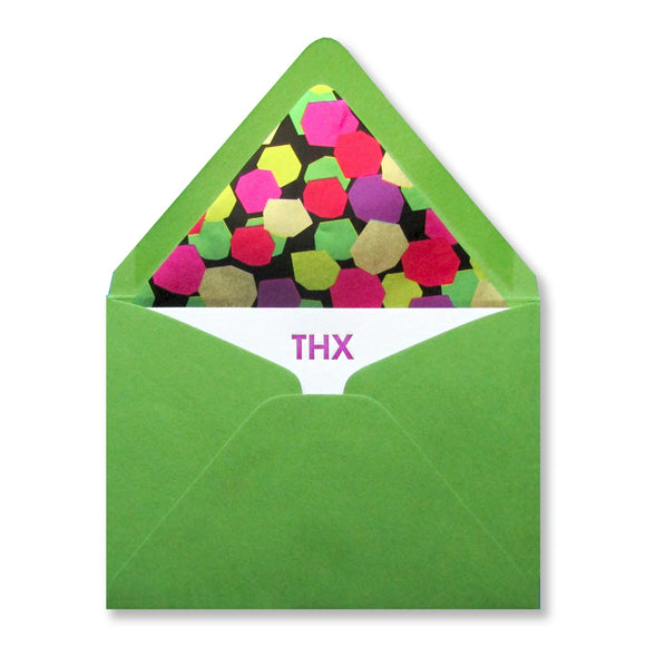 THX letterpress thank you stationery by inviting in purple ink with green, lined envelopes. Made in and ships from Austin Texas.