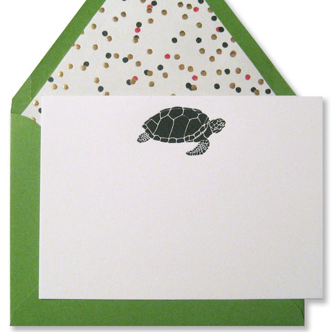 Letterpress sea turtle stationery in black with greenery envelopes by inviting | shopinviting INV1047.