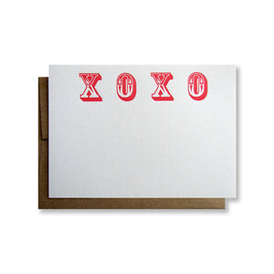 Letterpress XOXO stationery in red ink by inviting in Austin Texas.