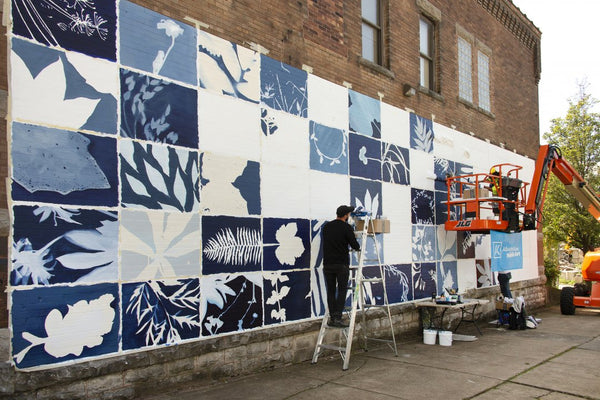Image: Progress on Hillary Waters Fayle's mural for 244 Dewitt Street. Photograph by Tom Loonan.