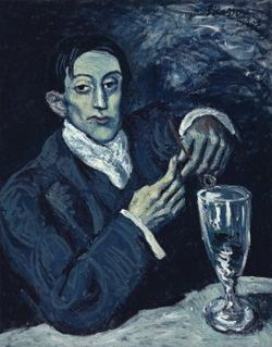 Portrait of Angel Fernández de Soto (also known as The Absinthe Drinker) by Picasso from his blue period