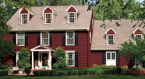 Merlot exteriors pair beautifully with black shutters and white trim