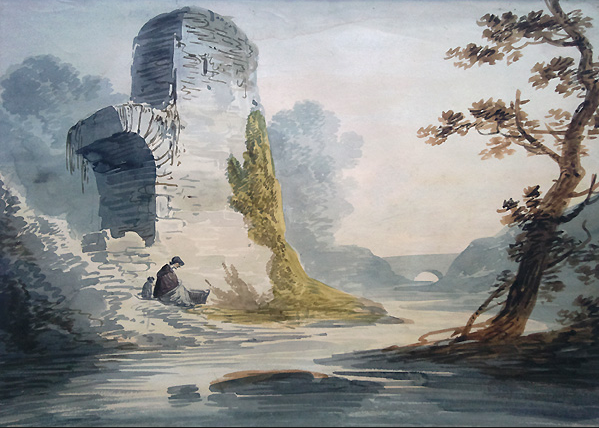 Untitled river scene using Paynes Grey by Willimam Payne. Source: Source: https://www.biancandm.com