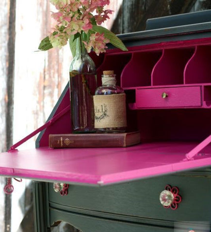 Painted secretary with a dash of pink!