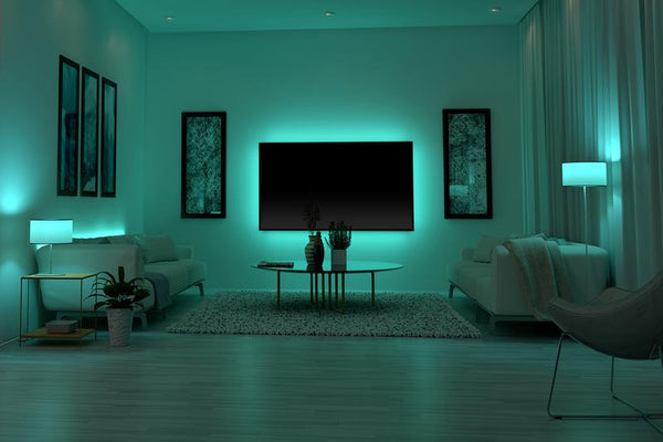 Lighting kits are an easy way to transform the mood of a room. Image via monsterstore.com