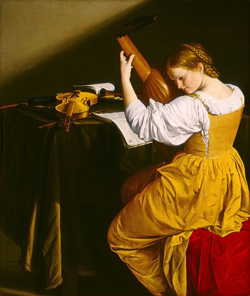 Orazio Gentileschi - The Lute Player, young woman in a golden dress. c. 1612–1615