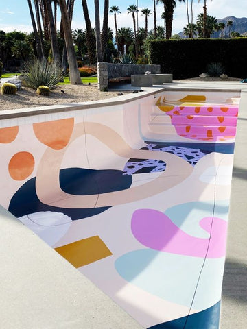 Check out this painted pool floor!