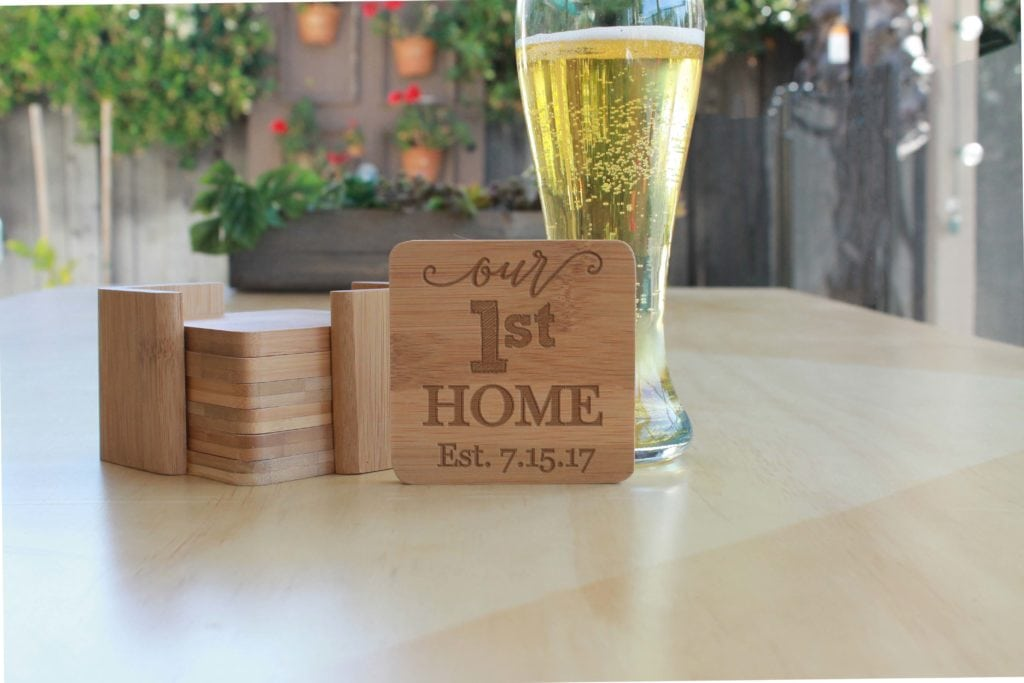 Personalized Bamboo Coasters - Engraved - Set of 6 - The Realty Depot