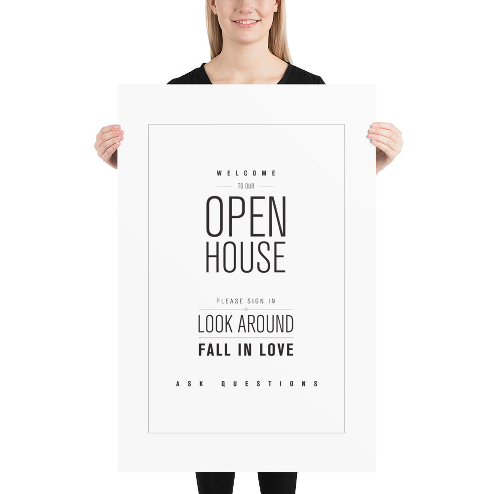 "Open House ""Sign Look Love Ask"" with White Background Poster Download - The Realty Depot"