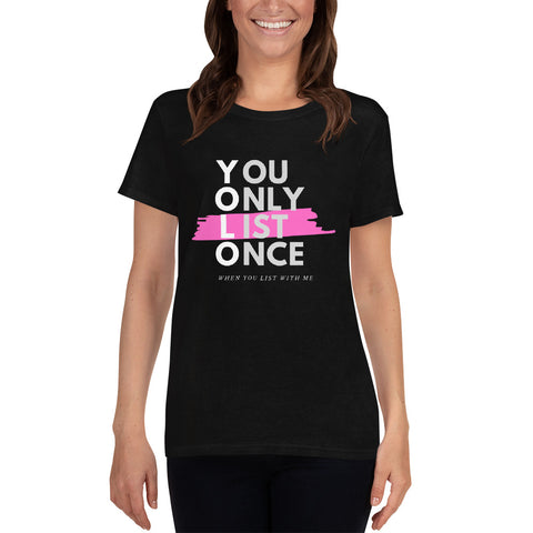 YOLO Pink - You Only List Once Unisex Short Sleeve T-Shirt - The Realty Depot