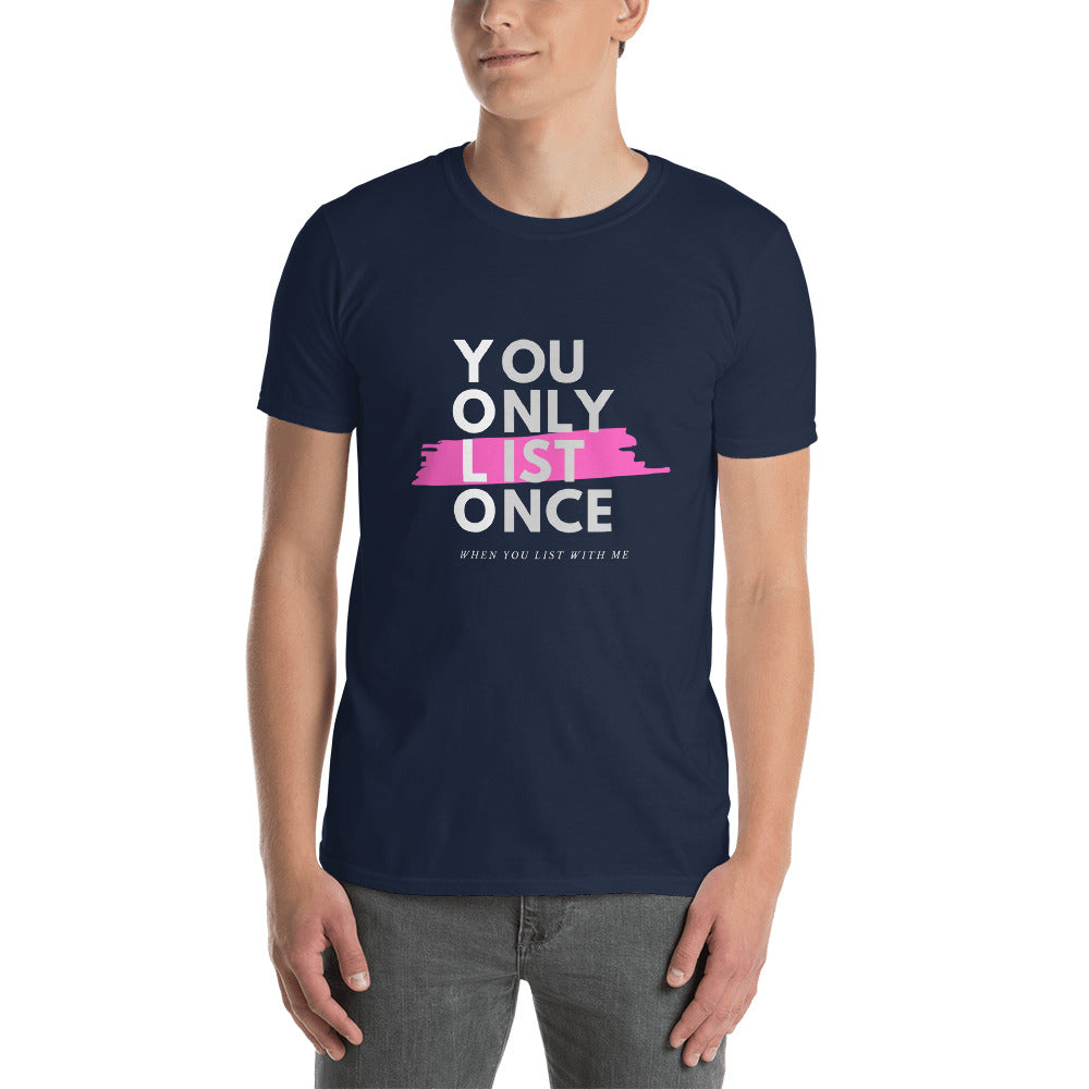 YOLO Pink - You Only List Once Short-Sleeve Unisex T-Shirt - The Realty Depot