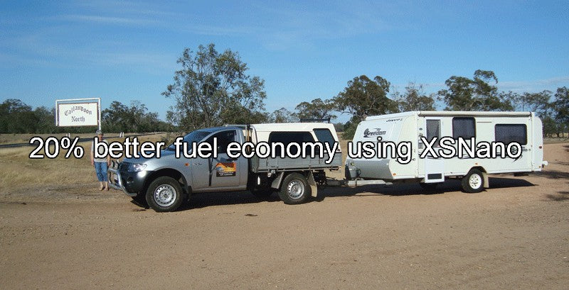 Great Fuel Economy with XSNano in 2008 Triton GLX Single cab ute towing a 17 foot caravan.