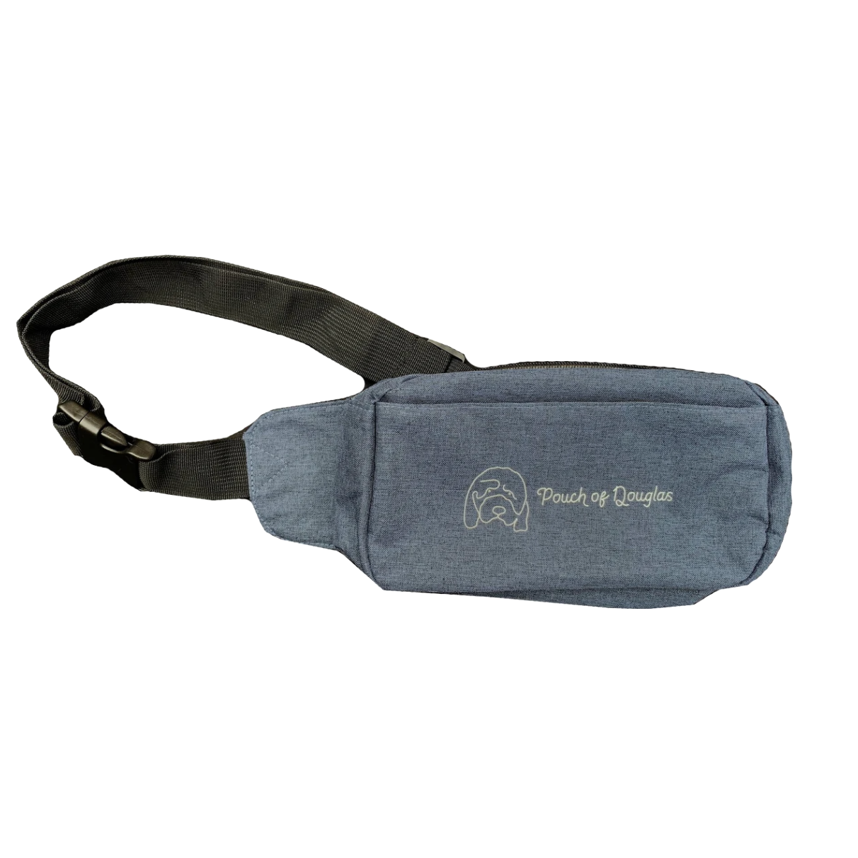 Hannah Gadsby's Pouch of Douglas Fanny Pack in blue and black