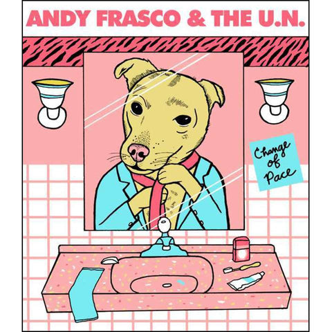 Andy Frasco Dog Looking in the bathroom mirror Poster