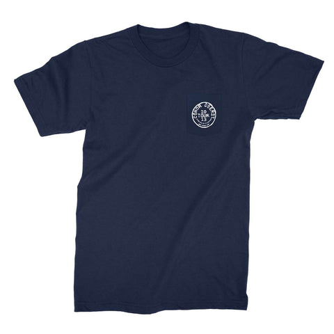 Navy pocket t-shirt with Conor Oberst European Tour 2013 written in a circle on the pocket