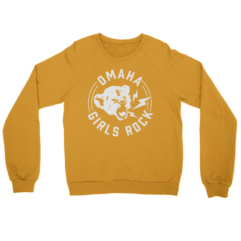 Omaha Girls Rock | Cub Crewneck Sweatshirt - Mustard