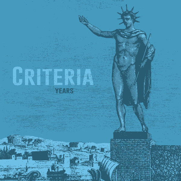 Criteria Years LP artwork is blue with a darker blue Greek/Roman scene with a large statue in front