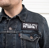 Radkey embroidered patch on a denim jacket